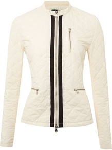 Women&#x27;s Long Sleeved Lightweight Padded Jacket, Ivory - length: standard; style: quilted; collar: high neck; fit: slim fit; predominant colour: ivory; occasions: casual; fibres: polyester/polyamide - 100%; sleeve length: long sleeve; sleeve style: standard; collar break: high; pattern type: fabric