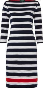 Women's 3/4 Sleeve Ballet Neck Striped Belted Dress, Navy Stripe - style: shift; neckline: slash/boat neckline; pattern: horizontal stripes; secondary colour: white; predominant colour: navy; occasions: casual, work; length: just above the knee; fit: body skimming; fibres: cotton - 100%; sleeve length: 3/4 length; sleeve style: standard; trends: glamorous day shifts; pattern type: fabric; pattern size: standard; texture group: jersey - stretchy/drapey
