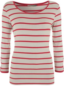 Women's Stripe Tee, Stone - neckline: round neck; pattern: horizontal stripes; length: below the bottom; style: t-shirt; predominant colour: true red; secondary colour: stone; occasions: casual, holiday; fibres: viscose/rayon - stretch; fit: body skimming; sleeve length: 3/4 length; sleeve style: standard; texture group: jersey - clingy; pattern type: fabric; pattern size: small & light