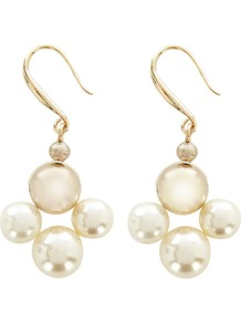 Evie Pearl Earring, Pearl - predominant colour: ivory; occasions: evening, work, occasion; style: drop; length: mid; size: standard; material: chain/metal; fastening: pierced; finish: patent; embellishment: pearls