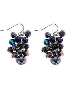 Saffia Earring, Blue - predominant colour: navy; occasions: evening, occasion; style: drop; length: mid; size: standard; material: chain/metal; fastening: pierced; trends: metallics; finish: metallic; embellishment: beading, jewels