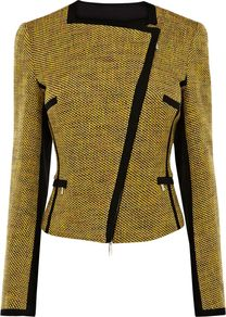 Women's Cotton Tweed Item Jacket, Mustard - pattern: plain, herringbone/tweed; style: biker; bust detail: added detail/embellishment at bust; collar: asymmetric biker; predominant colour: mustard; occasions: casual, evening, work, occasion; length: standard; fit: tailored/fitted; fibres: cotton - mix; waist detail: fitted waist; sleeve length: long sleeve; sleeve style: standard; collar break: high/illusion of break when open; pattern type: fabric; pattern size: small & light; texture group: tweed - light/midweight