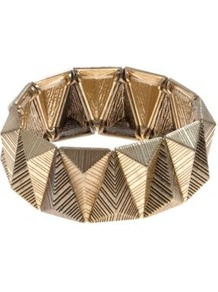 Gold Texture Triangle Stretch Bracelet - predominant colour: gold; occasions: casual, evening, occasion, holiday; style: bangle; size: small; material: chain/metal; finish: metallic