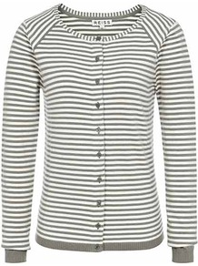 Kirby Stripe Cardi - neckline: round neck; pattern: horizontal stripes; secondary colour: ivory; predominant colour: sage; occasions: casual, work; length: standard; style: standard; fibres: cotton - stretch; fit: slim fit; sleeve length: long sleeve; sleeve style: standard; texture group: knits/crochet; pattern type: knitted - fine stitch; pattern size: small & busy