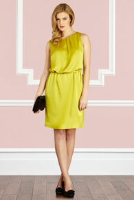 Ferou Dress - style: shift; neckline: round neck; fit: fitted at waist; pattern: plain; sleeve style: sleeveless; waist detail: belted waist/tie at waist/drawstring; predominant colour: yellow; length: just above the knee; fibres: polyester/polyamide - 100%; occasions: occasion; sleeve length: sleeveless; texture group: structured shiny - satin/tafetta/silk etc.; bust detail: tiers/frills/bulky drapes/pleats; pattern type: fabric; pattern size: standard