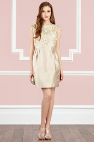 Melle Dress - style: shift; neckline: slash/boat neckline; fit: tailored/fitted; pattern: plain; sleeve style: sleeveless; bust detail: added detail/embellishment at bust; waist detail: twist front waist detail/nipped in at waist on one side/soft pleats/draping/ruching/gathering waist detail; predominant colour: champagne; occasions: evening, occasion; length: just above the knee; fibres: silk - mix; sleeve length: sleeveless; texture group: structured shiny - satin/tafetta/silk etc.; trends: glamorous day shifts; pattern type: fabric; pattern size: standard; embellishment: embroidered