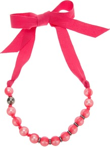 Faux Pearl Necklace - predominant colour: hot pink; occasions: casual, evening, work, holiday; style: standard; length: mid; size: standard; material: fabric; trends: fluorescent, metallics; finish: plain; embellishment: beading, crystals, pearls, ribbon