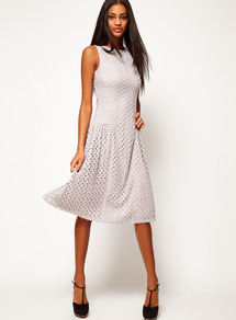 Midi Dress In Crochet Lace - length: below the knee; pattern: plain; sleeve style: sleeveless; predominant colour: light grey; occasions: casual, evening, occasion; fit: fitted at waist & bust; style: fit & flare; fibres: polyester/polyamide - stretch; neckline: crew; sleeve length: sleeveless; texture group: lace; pattern type: fabric