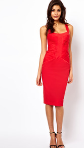 Sexy Pencil Dress With Pleating - length: below the knee; neckline: v-neck; pattern: plain; sleeve style: sleeveless; style: bodycon; waist detail: twist front waist detail/nipped in at waist on one side/soft pleats/draping/ruching/gathering waist detail; bust detail: ruching/gathering/draping/layers/pintuck pleats at bust; predominant colour: true red; occasions: evening, occasion; fit: body skimming; fibres: cotton - stretch; back detail: crossover; sleeve length: sleeveless; pattern type: fabric; texture group: jersey - stretchy/drapey