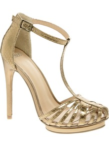 High Voltage Caged Heeled Sandals - predominant colour: gold; occasions: evening, occasion; material: faux leather; heel height: high; embellishment: buckles; ankle detail: ankle strap; heel: platform; toe: open toe/peeptoe; style: strappy; trends: metallics; finish: metallic; pattern: animal print, plain