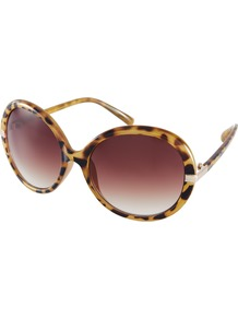 Oversized Round Frame Sunglasses - predominant colour: tan; occasions: casual, holiday; style: round; size: large; material: plastic/rubber; pattern: animal print, tortoiseshell; finish: plain