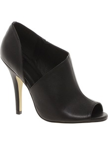 Thrill Shoe Boots - predominant colour: black; occasions: casual, evening, work, occasion; material: faux leather; heel height: high; heel: stiletto; toe: open toe/peeptoe; boot length: shoe boot; style: standard; finish: plain; pattern: plain