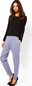 Peg Trousers In Chambray Effect - length: standard; pattern: plain; waist detail: elasticated waist; style: peg leg; pocket detail: pockets at the sides; waist: mid/regular rise; predominant colour: pale blue; occasions: casual, evening; fibres: cotton - 100%; hip detail: front pleats at hip level; jeans &amp; bottoms detail: turn ups; texture group: cotton feel fabrics; fit: tapered; pattern type: fabric