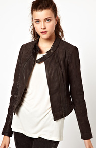 Collarless Leather Jacket - pattern: plain; style: biker; collar: standard biker; fit: slim fit; predominant colour: chocolate brown; occasions: casual, evening, work; length: standard; fibres: leather - 100%; sleeve length: long sleeve; sleeve style: standard; texture group: leather; collar break: high/illusion of break when open; pattern type: fabric; pattern size: standard