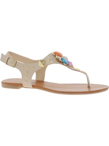 Bichoupan Jewelled Flat Sandals - predominant colour: nude; occasions: casual, holiday; material: faux leather; heel height: flat; embellishment: jewels; ankle detail: ankle strap; heel: standard; toe: open toe/peeptoe; style: flip flops / toe post; finish: plain; pattern: plain
