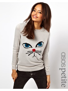 Petite Exclusive Jumper With Cat Face - style: standard; predominant colour: light grey; occasions: casual; length: standard; fibres: acrylic - 100%; fit: standard fit; neckline: crew; sleeve length: long sleeve; sleeve style: standard; pattern type: fabric; pattern size: standard; pattern: patterned/print; texture group: jersey - stretchy/drapey