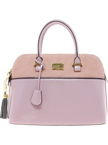 Pauls Boutique Maisy Suede Patent Bag - predominant colour: lilac; occasions: casual, work; type of pattern: standard; style: structured bag; length: handle; size: standard; material: faux leather; embellishment: tassels; pattern: plain, two-tone, colourblock; finish: patent