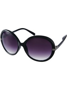 Oversized Round Frame Sunglasses - predominant colour: black; occasions: casual, holiday; style: round; size: large; material: plastic/rubber; pattern: plain; finish: plain