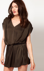 Flippy Dress With Elastic Waist - style: tunic; length: mid thigh; neckline: v-neck; sleeve style: dolman/batwing; fit: fitted at waist; pattern: plain; waist detail: elasticated waist; predominant colour: chocolate brown; occasions: casual; fibres: polyester/polyamide - 100%; sleeve length: short sleeve; texture group: silky - light; pattern type: fabric