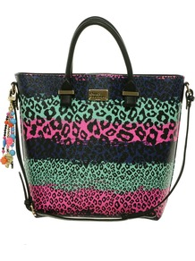 Pauls Boutique Rainbow Leopard Natasha Shopper - occasions: casual, work, holiday; predominant colour: multicoloured; type of pattern: standard; style: tote; length: handle; size: oversized; material: faux leather; embellishment: applique, beading, tassels; pattern: animal print, striped, horizontal stripes; trends: statement prints, fluorescent; finish: plain