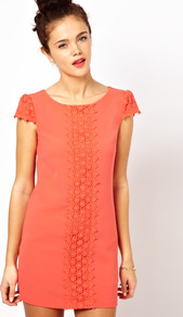 Shift Dress With Embroidery Detail - style: shift; length: mid thigh; neckline: round neck; sleeve style: capped; pattern: plain; predominant colour: bright orange; occasions: casual, evening; fit: straight cut; fibres: polyester/polyamide - stretch; sleeve length: short sleeve; texture group: lace; trends: glamorous day shifts; pattern type: fabric; embellishment: embroidered