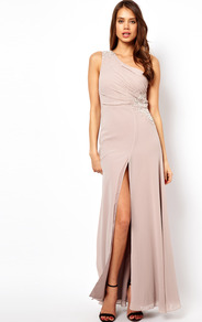 Vip One Shoulder Maxi Dress With Jewels - pattern: plain; sleeve style: sleeveless; style: maxi dress; length: ankle length; waist detail: embellishment at waist/feature waistband; neckline: asymmetric; back detail: low cut/open back; predominant colour: blush; occasions: evening, occasion; fit: body skimming; fibres: polyester/polyamide - 100%; hip detail: slits at hip; shoulder detail: asymmetric shoulder detail/one shoulder; sleeve length: sleeveless; texture group: sheer fabrics/chiffon/organza etc.; pattern type: fabric