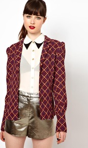 Jacket In Geometric Print - style: single breasted blazer; collar: standard lapel/rever collar; sleeve style: leg o mutton; secondary colour: purple; predominant colour: bright orange; occasions: casual, evening; length: standard; fit: straight cut (boxy); fibres: polyester/polyamide - 100%; shoulder detail: structured/bulky pleats/bulky detail at shoulder; sleeve length: long sleeve; trends: modern geometrics; collar break: low/open; pattern type: fabric; pattern size: standard; pattern: patterned/print; texture group: woven light midweight