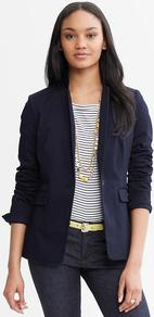 Sateen Blazer - pattern: plain; style: single breasted blazer; collar: standard lapel/rever collar; predominant colour: navy; occasions: work; length: standard; fit: tailored/fitted; fibres: cotton - stretch; sleeve length: long sleeve; sleeve style: standard; texture group: structured shiny - satin/tafetta/silk etc.; collar break: low/open; pattern type: fabric