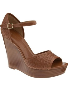 Nicola Platform Wedge - predominant colour: tan; material: leather; heel height: high; ankle detail: ankle strap; heel: wedge; toe: open toe/peeptoe; style: standard; occasions: holiday; finish: plain; pattern: plain