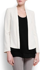 Minimalistic Cut Blazer - pattern: plain; style: single breasted blazer; collar: shawl/waterfall; predominant colour: ivory; occasions: casual, evening, occasion; length: standard; fit: tailored/fitted; fibres: polyester/polyamide - 100%; sleeve length: long sleeve; sleeve style: standard; collar break: low/open; pattern type: fabric; texture group: woven light midweight