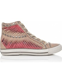 Clay &amp;Amp; Peach Vanilla Nappa Trainers 6 Uk/39 Eu Cly/Pch - predominant colour: coral; occasions: casual, work; material: leather; heel height: flat; embellishment: studs, pleated; ankle detail: ankle tie; toe: round toe; style: trainers; trends: sporty redux; finish: plain; pattern: patterned/print, two-tone