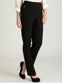 Black Zip Tapered Trousers - length: standard; pattern: plain; style: peg leg; waist: high rise; pocket detail: pockets at the sides; predominant colour: black; occasions: casual, evening, work; fibres: polyester/polyamide - 100%; hip detail: front pleats at hip level; texture group: denim; fit: tapered; pattern type: fabric