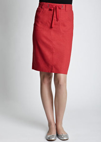 Red Linen Blend Skirt - pattern: plain; style: straight; waist detail: belted waist/tie at waist/drawstring; waist: mid/regular rise; predominant colour: true red; occasions: casual, evening, work; length: just above the knee; fibres: linen - mix; texture group: linen; fit: straight cut; pattern type: fabric