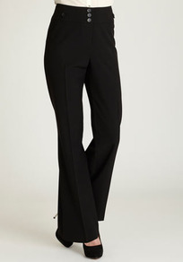 Black Wide Leg Trouser - length: standard; pattern: plain; pocket detail: small back pockets; waist detail: wide waistband/cummerbund; waist: high rise; predominant colour: black; occasions: evening, work; fibres: polyester/polyamide - 100%; hip detail: fitted at hip (bottoms); fit: wide leg; pattern type: fabric; texture group: other - light to midweight; style: standard