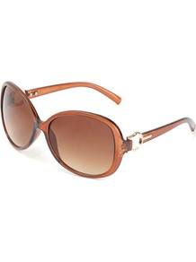 Brown Snaffle Sunglasses - predominant colour: tan; occasions: casual, holiday; style: round; size: large; material: plastic/rubber; pattern: plain; finish: plain