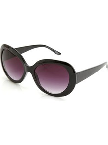 Black Oversized Round Sunglasses - predominant colour: black; occasions: casual, holiday; style: round; size: large; material: plastic/rubber; pattern: plain; finish: plain