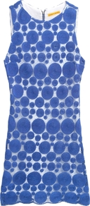 Dot Sleeveless Shift Dress - style: shift; length: mid thigh; neckline: round neck; fit: tailored/fitted; sleeve style: sleeveless; waist detail: fitted waist; pattern: polka dot, patterned/print; hip detail: fitted at hip; predominant colour: indigo; occasions: casual, evening, holiday; fibres: silk - mix; sleeve length: sleeveless; texture group: lace; trends: statement prints, glamorous day shifts; pattern type: fabric; pattern size: big &amp; busy