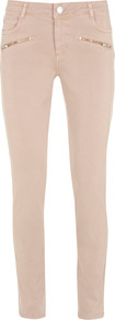 Shell Pink Zip Hip Jeans - style: skinny leg; length: standard; pattern: plain; pocket detail: traditional 5 pocket; waist: mid/regular rise; predominant colour: blush; occasions: casual; fibres: cotton - stretch; texture group: denim; pattern type: fabric; pattern size: standard