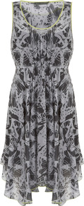 Bella Print Dress - neckline: round neck; sleeve style: sleeveless; waist detail: fitted waist; secondary colour: charcoal; predominant colour: light grey; occasions: casual, evening; length: just above the knee; fit: body skimming; style: asymmetric (hem); fibres: viscose/rayon - 100%; sleeve length: sleeveless; texture group: sheer fabrics/chiffon/organza etc.; pattern type: fabric; pattern size: small & busy; pattern: patterned/print