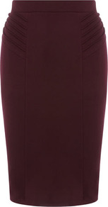 Wine Pinstitch Pencil Skirt - pattern: plain; style: pencil; fit: tailored/fitted; waist detail: fitted waist, narrow waistband; waist: high rise; hip detail: fitted at hip, structured pleats at hip, sculpting darts/pleats/seams at hip; predominant colour: aubergine; occasions: casual, evening, work; length: just above the knee; fibres: polyester/polyamide - mix; texture group: jersey - clingy; pattern type: fabric; pattern size: standard