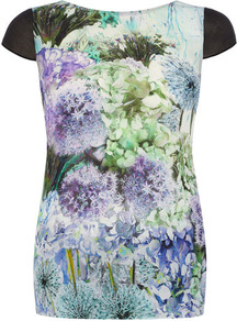 Purple Carnation Print Top - neckline: round neck; sleeve style: capped; style: t-shirt; back detail: low cut/open back, contrast pattern/fabric at back, sheer fabric at back; shoulder detail: contrast pattern/fabric at shoulder, added shoulder detail; predominant colour: lilac; occasions: casual, evening; length: standard; fibres: polyester/polyamide - 100%; fit: body skimming; sleeve length: short sleeve; texture group: sheer fabrics/chiffon/organza etc.; trends: high impact florals; pattern type: fabric; pattern size: big &amp; busy; pattern: florals