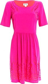 Mini Diaghilev Dress Fuschia - style: shift; neckline: round neck; pattern: plain; predominant colour: hot pink; occasions: casual, evening, holiday; length: just above the knee; fit: body skimming; fibres: silk - 100%; hip detail: structured pleats at hip; sleeve length: short sleeve; sleeve style: standard; texture group: sheer fabrics/chiffon/organza etc.; trends: fluorescent; pattern type: fabric; pattern size: small & light
