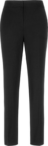 Paris Slim Leg Trousers - length: standard; pattern: plain; waist: mid/regular rise; predominant colour: black; occasions: casual, evening, work; fibres: viscose/rayon - stretch; fit: slim leg; pattern type: fabric; texture group: woven light midweight; style: standard