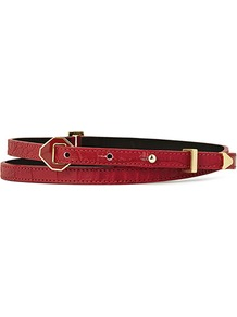 Klara Diamond Hardware Skinny Belt - predominant colour: burgundy; occasions: casual, evening, work, occasion; type of pattern: light; style: classic; size: skinny; worn on: waist; material: leather; embellishment: studs, buckles; pattern: plain; finish: plain