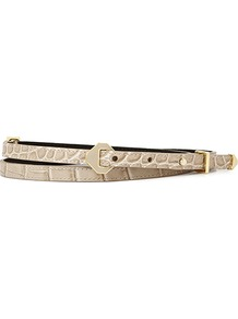 Klara Diamond Hardware Skinny Belt - predominant colour: stone; occasions: casual, evening, work, occasion; type of pattern: light; style: classic; size: skinny; worn on: waist; material: leather; pattern: animal print, plain; finish: plain; embellishment: buckles