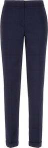 Milano Sun Straight Leg Trousers - length: standard; pattern: checked/gingham; waist: mid/regular rise; predominant colour: navy; occasions: casual, evening, work; fibres: wool - stretch; jeans &amp; bottoms detail: turn ups; fit: slim leg; pattern type: fabric; texture group: woven light midweight; style: standard