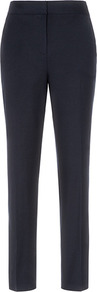Paris Slim Leg Trousers - length: standard; pattern: plain; pocket detail: small back pockets; waist: mid/regular rise; predominant colour: navy; occasions: casual, evening, work; fit: slim leg; pattern type: fabric; texture group: woven light midweight; style: standard; fibres: viscose/rayon - mix