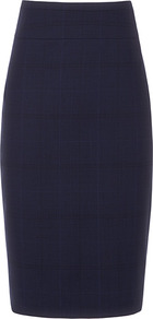 Tara Sun Fishtail Pencil Skirt - pattern: plain, checked/gingham; style: pencil; fit: tailored/fitted; waist detail: fitted waist, wide waistband/cummerbund; waist: high rise; hip detail: fitted at hip; predominant colour: navy; occasions: casual, work; length: on the knee; fibres: wool - mix; texture group: cotton feel fabrics; pattern type: fabric; pattern size: standard