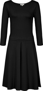 Hawn Jersey Fit & Flare Dress - neckline: round neck; pattern: plain; predominant colour: black; occasions: evening, work; length: on the knee; fit: fitted at waist & bust; style: fit & flare; fibres: viscose/rayon - stretch; sleeve length: 3/4 length; sleeve style: standard; trends: volume; pattern type: fabric; texture group: jersey - stretchy/drapey