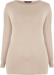 Neutral Crew Neck Top - neckline: round neck; pattern: plain; hip detail: fitted at hip; predominant colour: stone; occasions: casual, work; length: standard; style: top; fibres: polyester/polyamide - stretch; fit: body skimming; sleeve length: long sleeve; sleeve style: standard; pattern type: fabric; pattern size: standard; texture group: jersey - stretchy/drapey